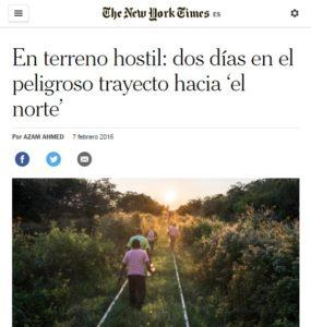 """Captura del artículo """"En terreno hostil: dos días en el peligroso trayecto hacia 'el norte'"""""""