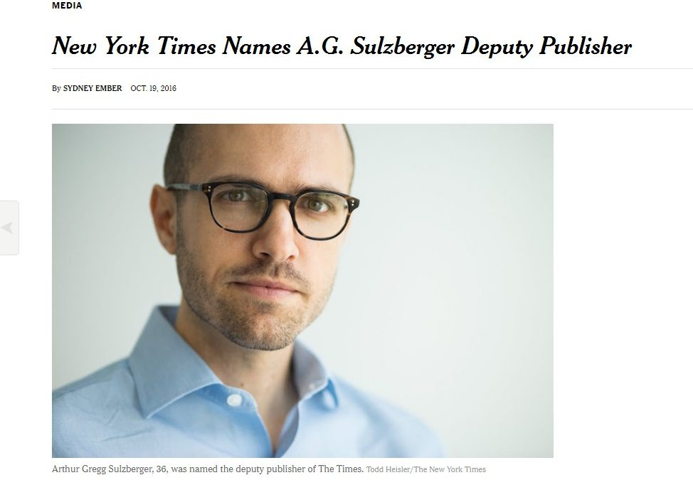 'The New York Times' nombra a A.G. Sulzberger editor adjunto del diario