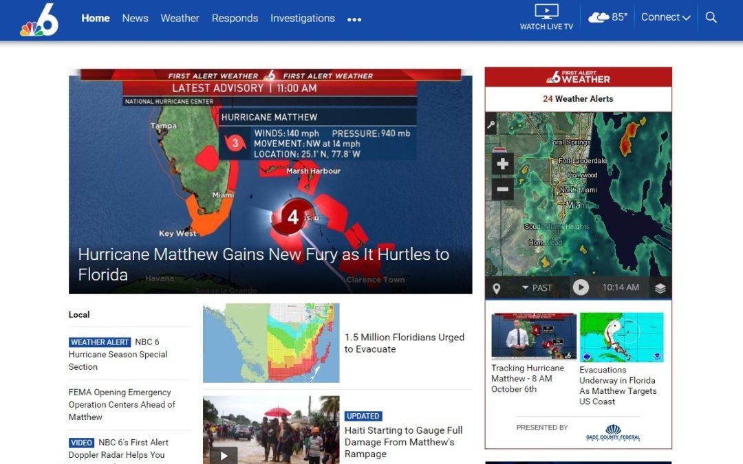 Enlaces para seguir en directo la última hora sobre el huracán Matthew