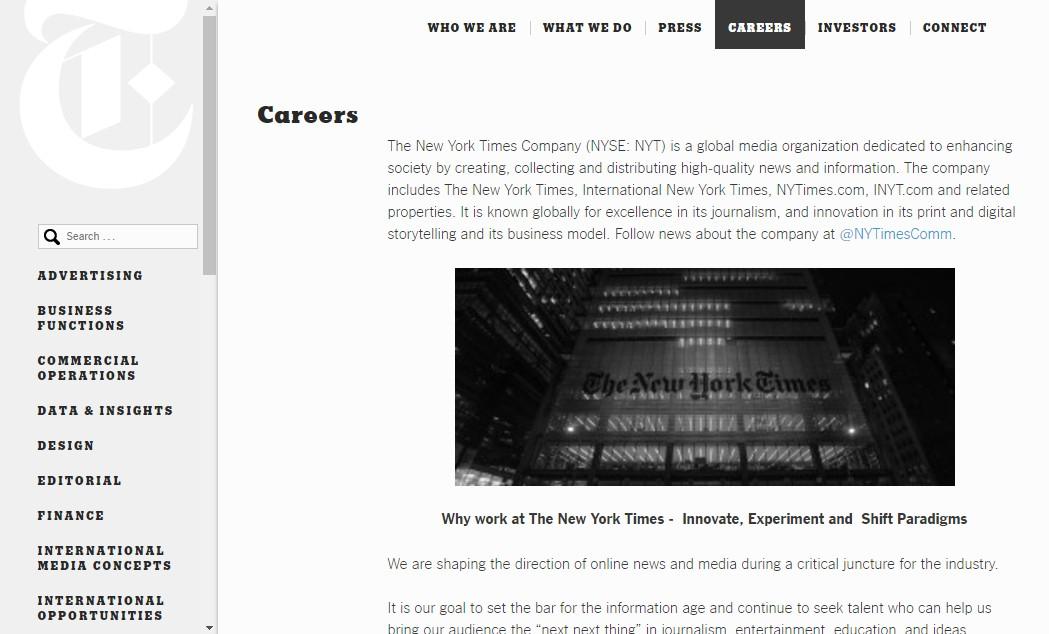 ¿Qué perfiles profesionales está buscando The New York Times? Estas son las 133 ofertas de empleo actuales