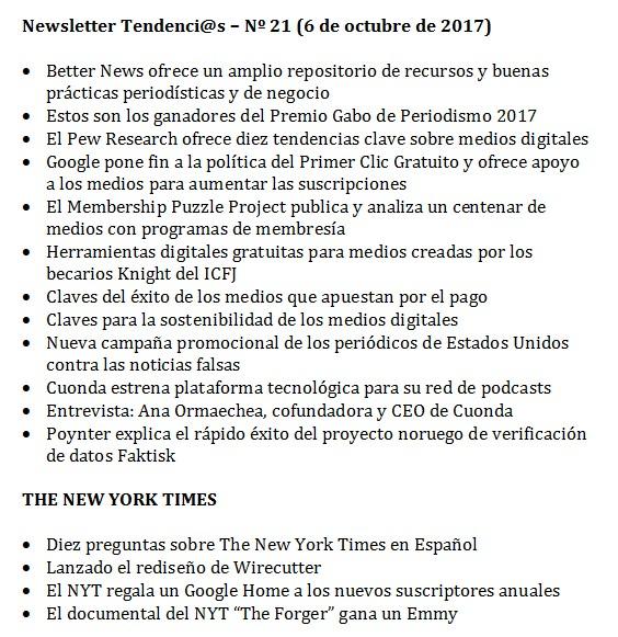 Boletín Tendenci@s – Nº 21 (6 de octubre de 2017)